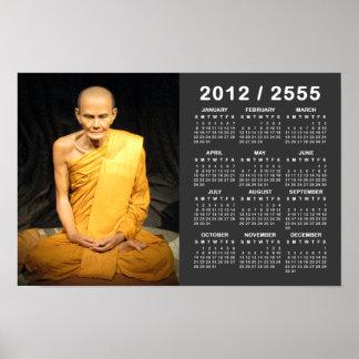 Luang Poo Mun Bhuridatto 2012 / 2555 BE Calendar Poster