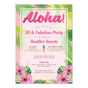 Luau 50th Birthday Party Invitation