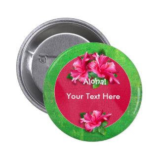 Luau Aloha Pink Hibiscus Buttons