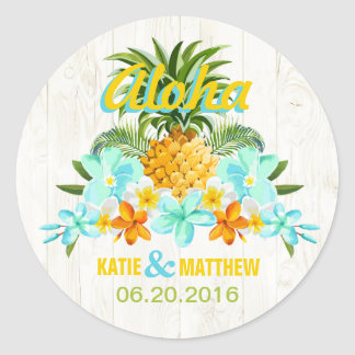 Luau Beach Tropical Floral Wedding Label