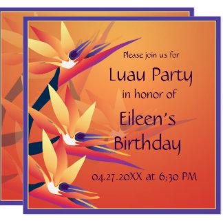 Luau  Birthday Bird-of Paradise Tropical Party 13 Cm X 13 Cm Square Invitation Card