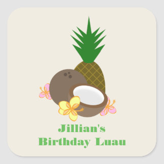 Luau Birthday -  Coconut Pineapple Hibiscus Square Sticker