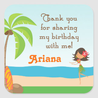 Luau Birthday Party Favor Thank You Sticker