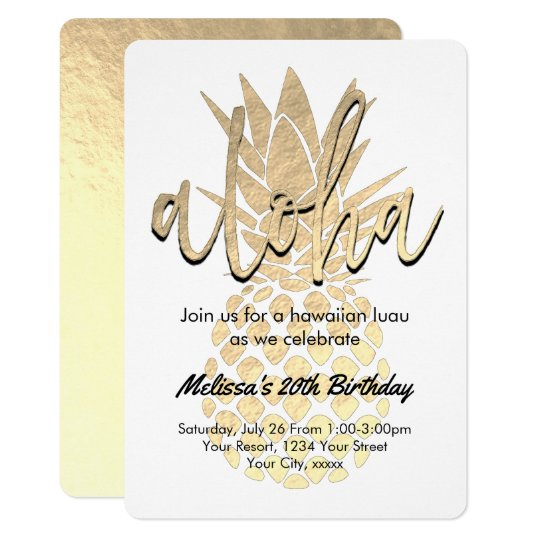 luau birthday party golden pineapple card