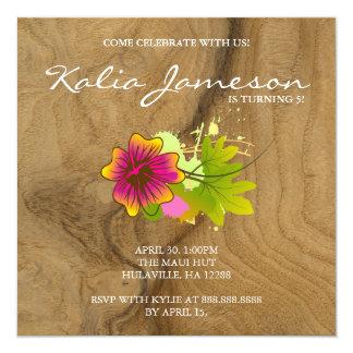 "Luau Birthday Party Invite Hibiscus Flower Oak 5.25"" Square Invitation Card"