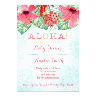 Luau bridal shower, hawaii baby shower, tropical 13 cm x 18 cm invitation card