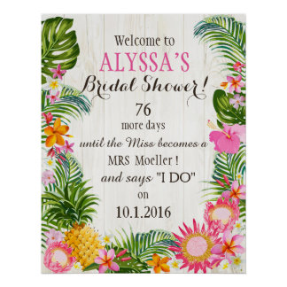 Luau Hawaiian Beach Rustic Wedding Bridal Shower Poster