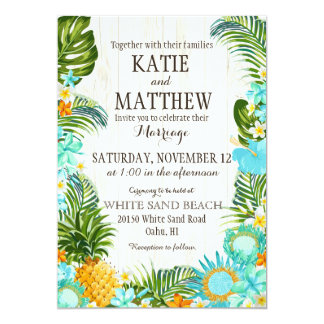 Luau Hawaiian Beach Rustic Wedding Card