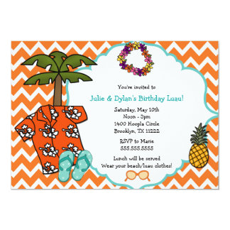 Luau Hawaiian Birthday Party Invite Neutral Gender