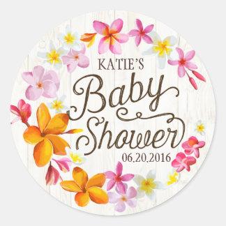 Luau Hawaiian Lei Rustic Baby Shower Label