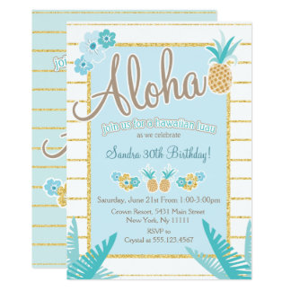 Luau, Hawaiian Pineapple Party Invitations