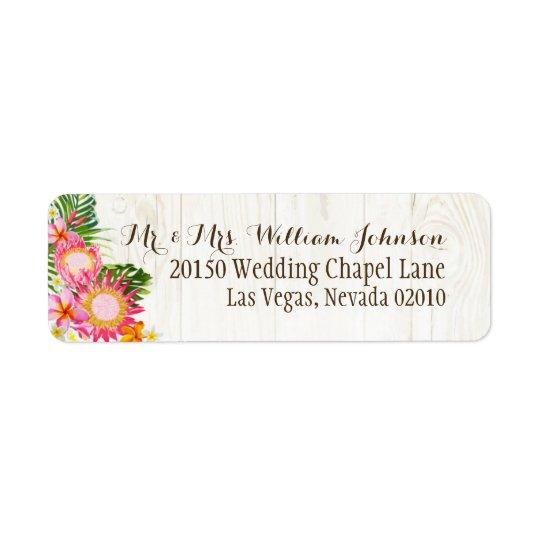 Luau Hawaiian Rustic Beach Wedding Labels