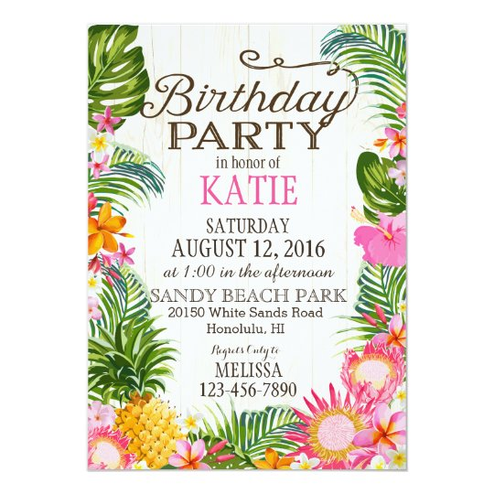 Luau Hawiian Beach Rustic Birthday Party Card