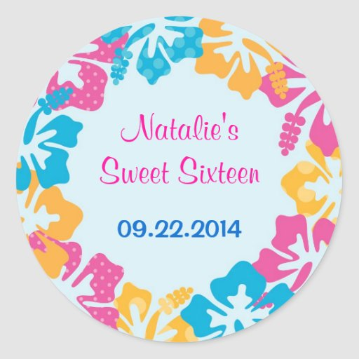 Luau Hibiscus Sweet Sixteen (16) Favor Sticker