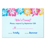 Luau Hibiscus Sweet Sixteen (16) RSVP Card Personalized Invitations