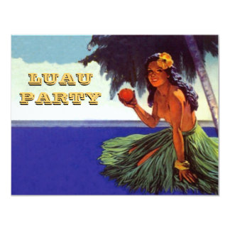 "LUAU HULA DANCE PARTY INVITATION ~EZ TO CUSTOMIZE! 4.25"" X 5.5"" INVITATION CARD"
