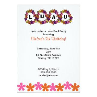 Luau Leis Invitation for birthday or pool party