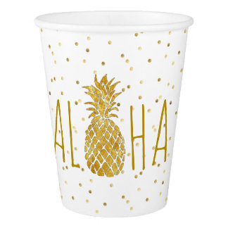 luau party hawaiian golden pineapple paper cup
