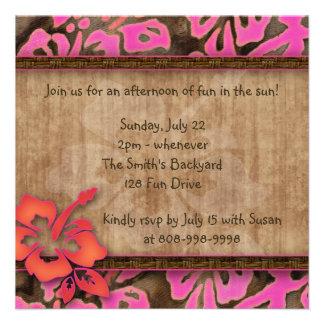 Luau Party Invitation Hibiscus Pink Brown Orange