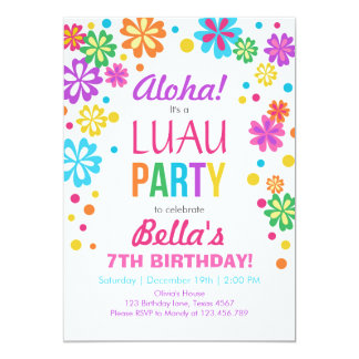Luau party invitation Tropical Birthday Aloha