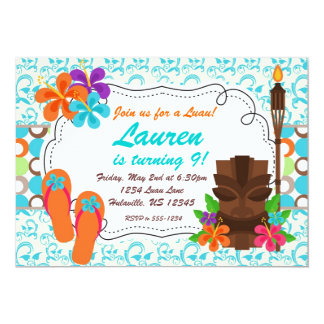 Luau Party Invite, Turquoise Damask and Tiki Man 13 Cm X 18 Cm Invitation Card