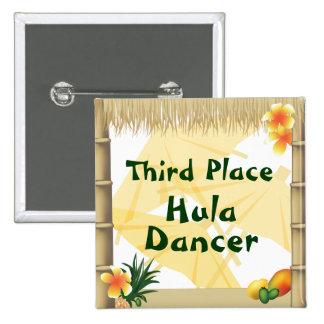 Luau Party Third Place Hula Dancer Award Button
