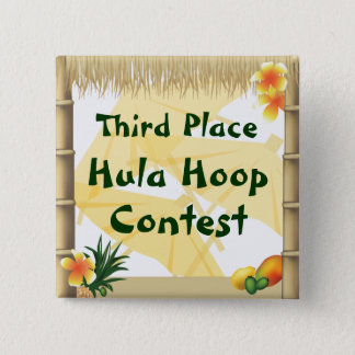 Luau Party Third Place Hula Hoop Award Button