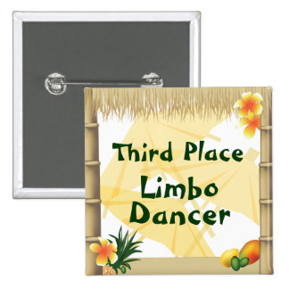 Luau Party Third Place Limbo Dancer Award Button