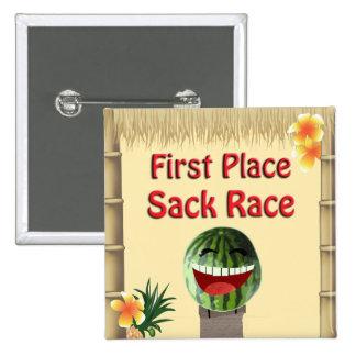 Luau Party Tiki Hut 1 Place Watermelon Sack Race 1 15 Cm Square Badge