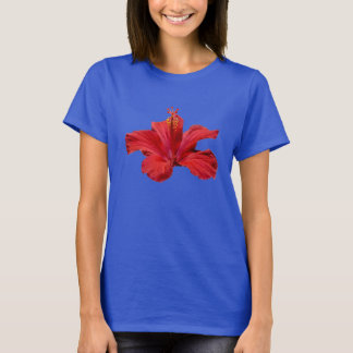 Luau Party Tropical Hawaiian Red Hibiscus Flower T-Shirt