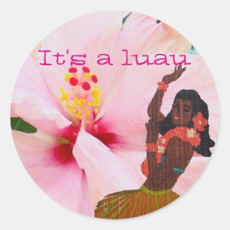 Luau Pink Hibiscus and Grass Skirt Hula Girl Round Sticker