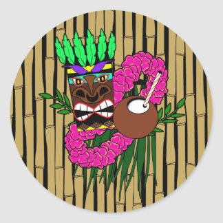 Luau Theme Classic Round Sticker