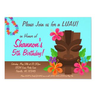 """Luau Tiki Man and Flowers Birthday Party 5"""" X 7"""" Invitation Card"""