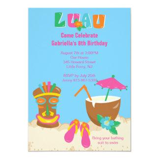 Luau Tiki On the Beach Birthday Invitation
