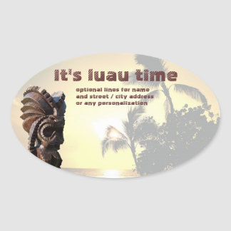 Luau - Time to Party Oval Sticker