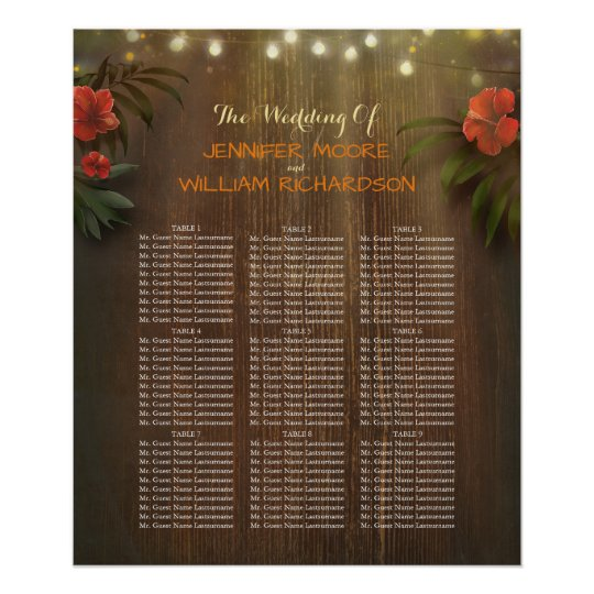 Luau Tropical Beach Flowers Wedding Seating Chart Poster