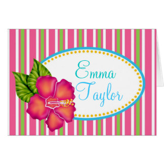 Luau tropical Hibiscus Note Cards