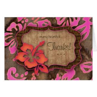 Luau Wedding Thank You Cards Hibiscus pink