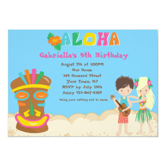 Luau With Kids and Tiki Birthday Invitation