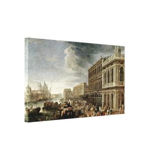 Luca Carlevarijs - Riva degli Schiavoni Stretched Canvas Prints