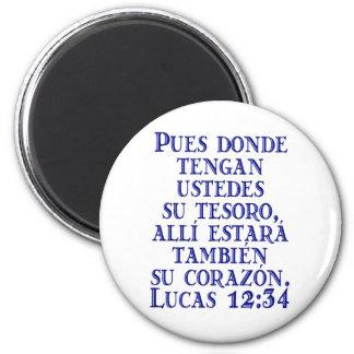 Lucas 12:34 6 cm round magnet