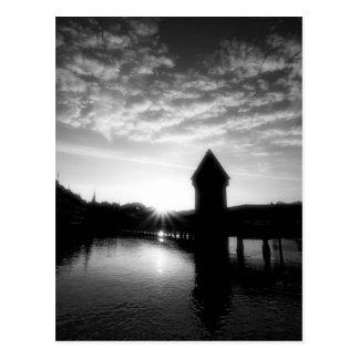 Lucerne Chapel Bridge sunrise Postcard