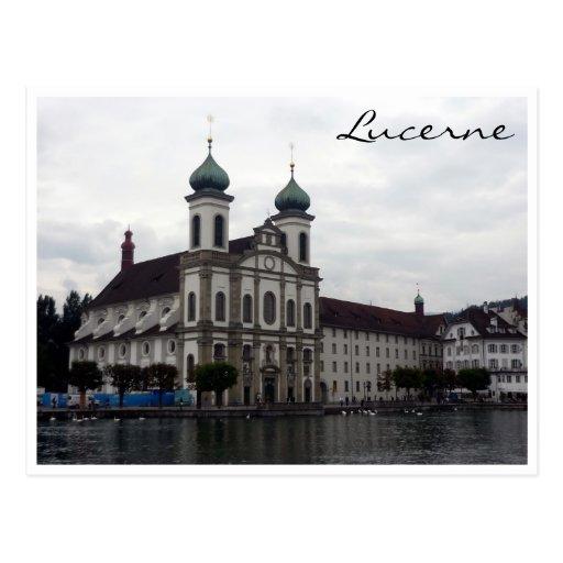 lucerne jesuit church post card