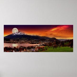 Lucerne Switzerland & the moon over Mount Pilatus Poster