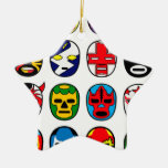 Lucha Libre Luchador Mexican Wrestling Masks Ceramic Star Decoration