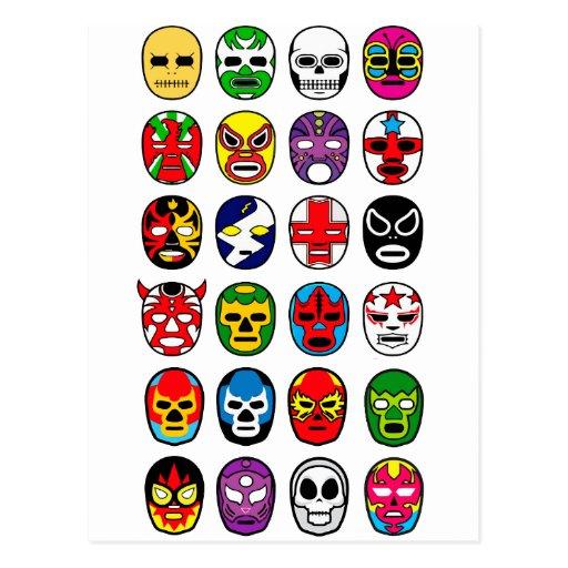 Lucha Libre Luchador Mexican Wrestling Masks Postcards
