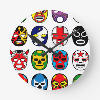 Lucha Libre Luchador Mexican Wrestling Masks Round Clock