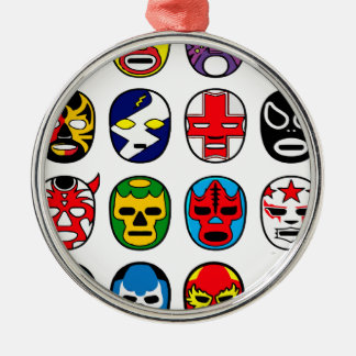 Lucha Libre Luchador Mexican Wrestling Masks Silver-Colored Round Decoration