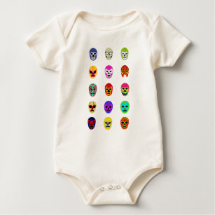 Lucha Libre Mask Mexican Wrestling Baby Bodysuit