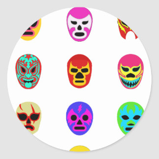 Lucha Libre Mask Mexican Wrestling Classic Round Sticker